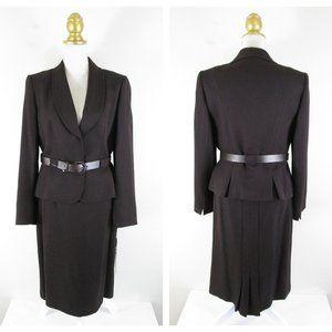 Tahari Brown Tweed Belted Skirt Suit Formal Career
